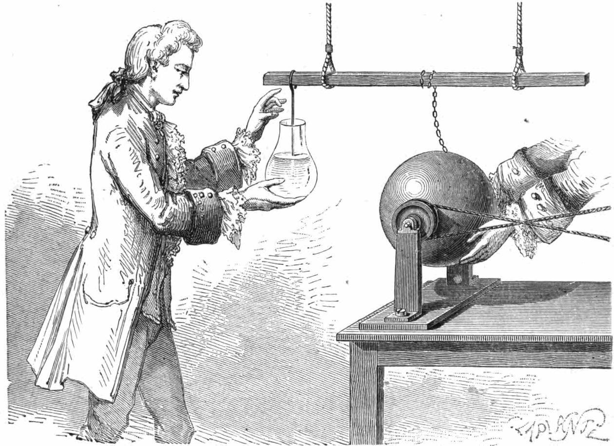 Leideni purgi avastamine Musschenbroeki laboratooriumis. Joonis: A. P. Deschaneli 1876. a raamatust Elementary Treatise on Natural Philosophy, avalik omand, commons.wikimedia.org/w/index.php?curid=27702548