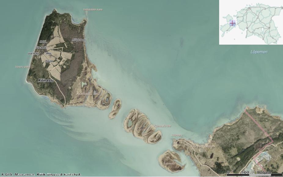 Kõinastu laid ja teda Muhumaaga ühendav lee ehk liivaseljandik. Allikas: Maa-ameti Geoportaal.