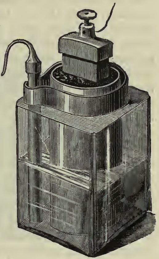 Leclanché element. Joonis pärit raamatust William Edward Ayrton Practical Electricity, London, Cassell, 1891, lk 221, avalik omand, commons.wikimedia.org/w/index.php?curid=15161315
