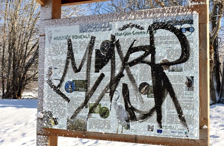 Vandalism Mustjõe linnuvaatlustorni juures