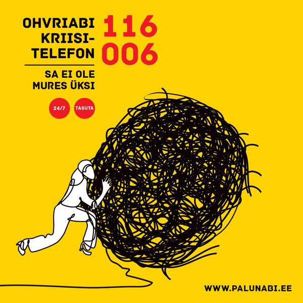 Ohvriabi kriisitelefon 116 006: tasuta ja kolmes keeles