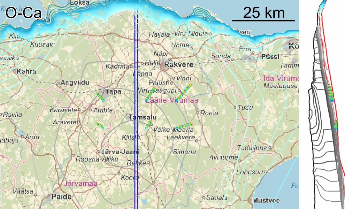 Põhjavee vooluteekonnad Ordoviitsiumi-Kambriumi veekihis oluliselt lühemad kui maapinnale lähemal asuvates veekihtides.Iga vooluteekondade tsükkel sinisest punaseni markeerib tuhande aastast lõiku.