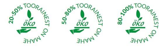 Eesti riiklik mahetoitlustamisele viitav märgistus olenevalt toitlustusasutuses kasutatava mahetooraine osakaalust – 20–50%, 50–100% või 80–100%.