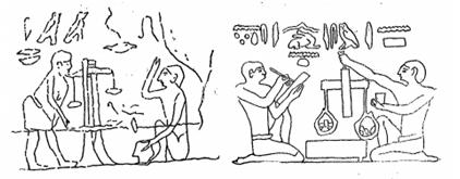 Pilt: Vana-Egiptuse kaalude kujutised Giza püramiidil (vasakul) ja Meroë püramiidil (paremal)